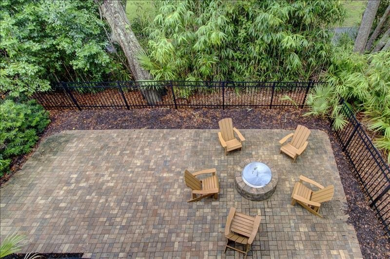 Fenced patio with firepit (Large Gas Grill not shown)