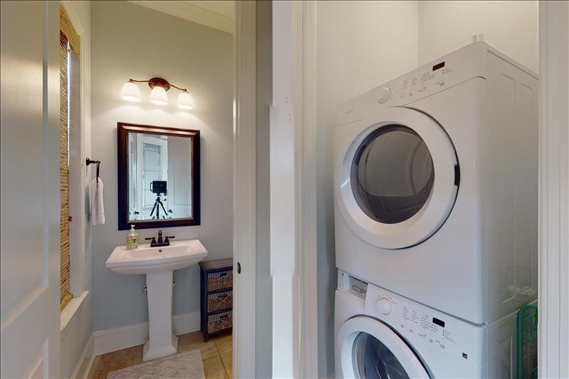 Half Bath & Stack Washer & Dryer