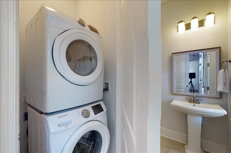 Stack Washer and Dryer/ Half Bath
