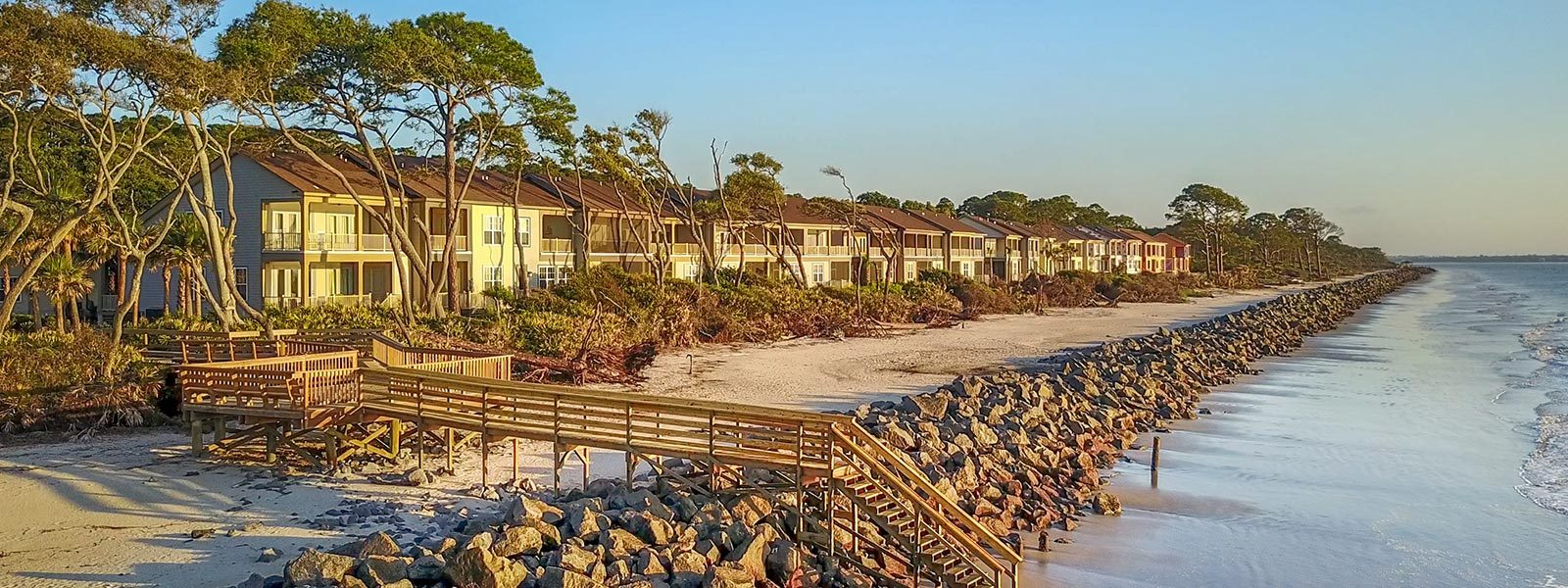 Cottages located on the beach at Jekyll Island