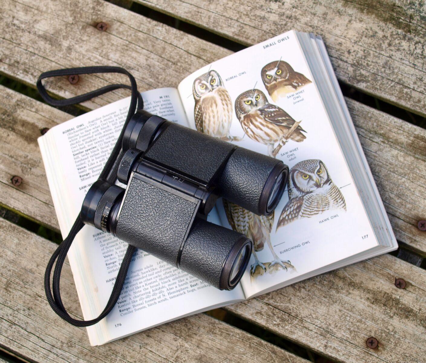 binoculars and bird book