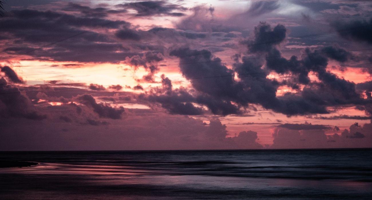 sunset in purples on St. Simon Island