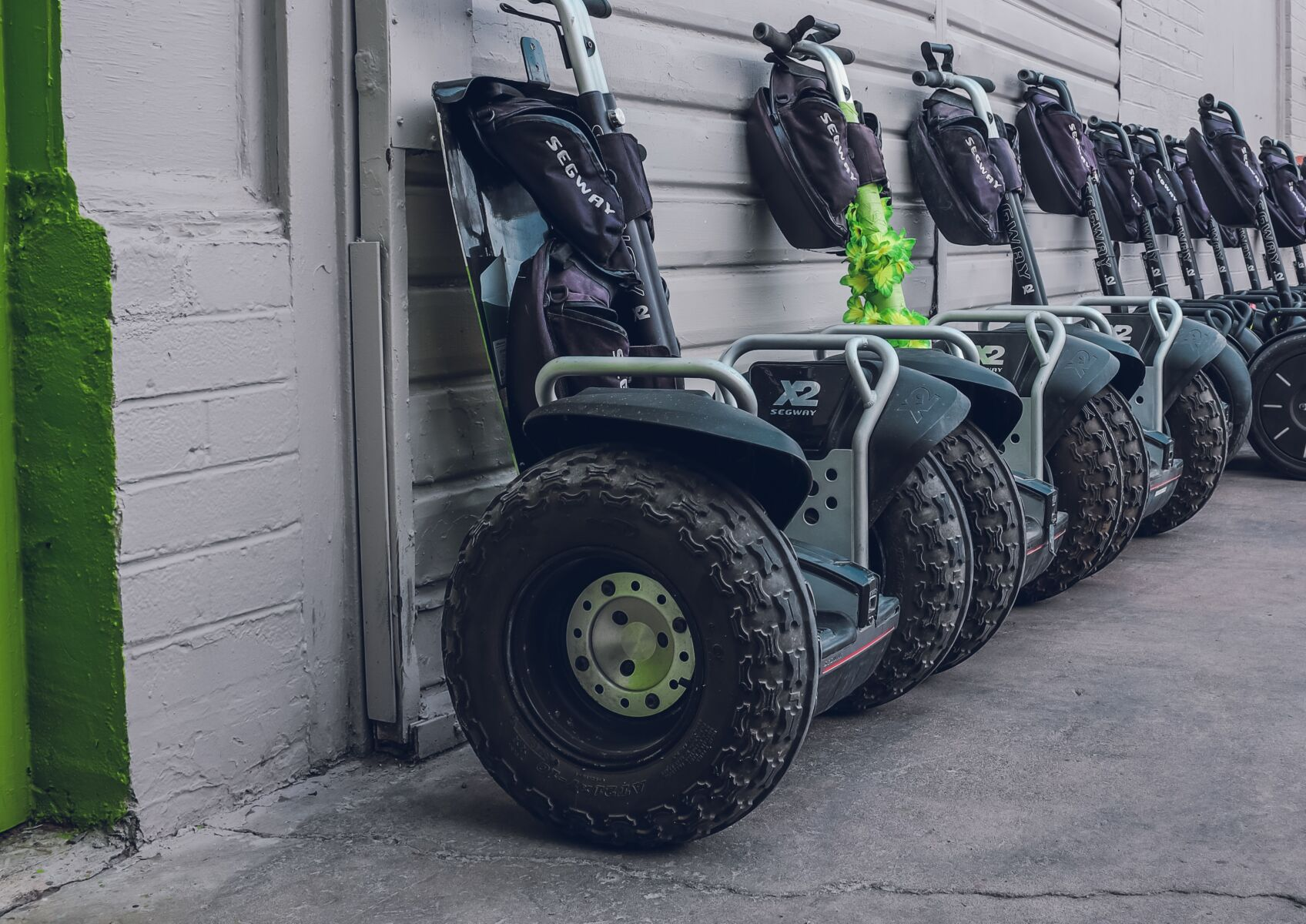 segway vehicles lined up